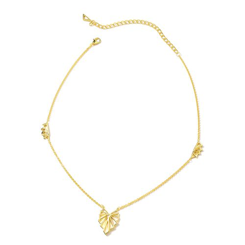 Lucy Q Art Deco Necklace in Gold Plated Silver 16 with 4 inch