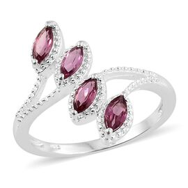 Orissa Rose Garnet (Mrq) Crossover Ring in Sterling Silver 1.000 Ct. Silver wt 3.18 Gms.