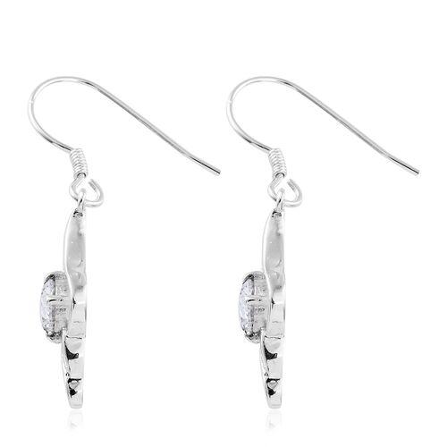J Francis - Sterling Silver (Rnd) Hook Earrings Made with SWAROVSKI ZIRCONIA