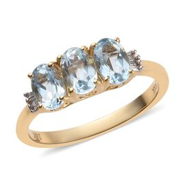 ILIANA 18K Yellow Gold AAA Espirito Santo Aquamarine (Ovl), Diamond (SI/G-H) Ring 1.41 Ct.