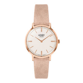HENRY LONDON Regency Unisex Creamy White Dial Watch with Pink Suede Strap