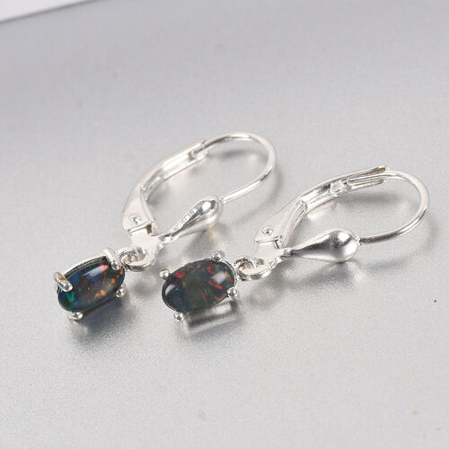 One Time Deal- Australian Boulder Opal Solitaire Lever Back Earrings in Sterling Silver