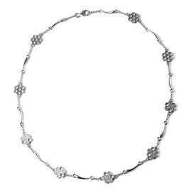 LucyQ Honeycomb Collection - Rhodium Overlay Sterling Silver Station Necklace (Size - 18)