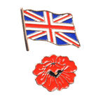 2 Piece Set Union Jack and Flower Enamelled Brooch in Gold Tone