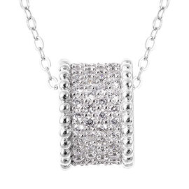 ELANZA Simulated Diamond Charm with Chain (Size 18) in Rhodium Overlay Sterling Silver