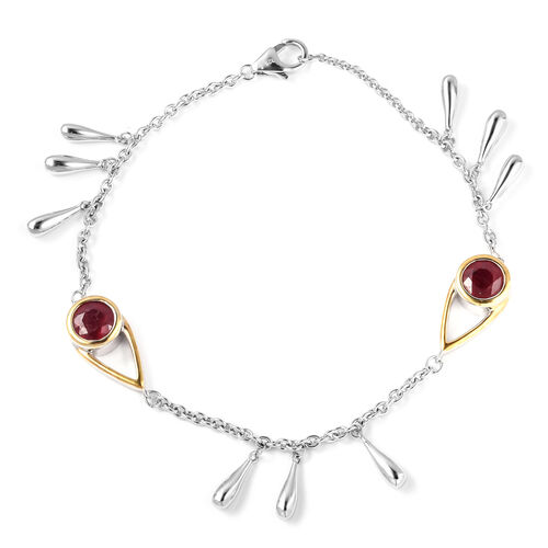 LucyQ - Open Drip Collection - African Ruby (Rnd) Rhodium and Gold Overlay Sterling Silver Bracelet (Size 7.5) 1.940 Ct., Silver wt 11.46 Gms.