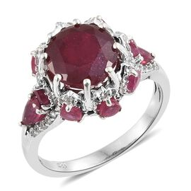 Limited Edition - African Ruby (Rnd 7.00 Ct), Natural Cambodian Zircon Ring in Platinum Overlay Ster