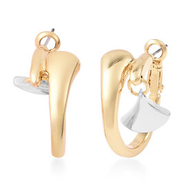 Crossover Charm Hoop Earrings (with Clasp Lock) in Dual Tone