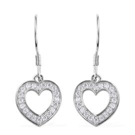 J Francis - Platinum Overlay Sterling Silver (Rnd) Heart Hook Earrings Made with SWAROVSKI ZIRCONIA