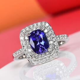 RHAPSODY 950 Platinum AAAA Tanzanite and Diamond (VS/E-F) Ring 2.00 Ct, Platinum wt 7.10 Gms