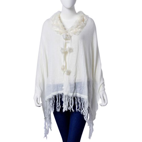 One Time Deal - Designer Inspired - Super Soft White Colour Longer Line Kimono Cape with Faux Fur Collar (Free Size)