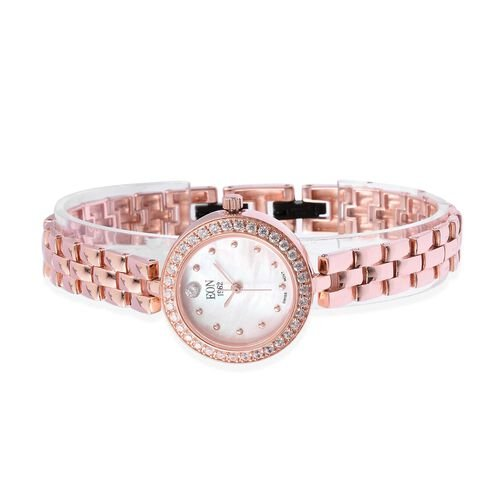 EON 1962 Swiss Movement Simulated Diamond Studded  3ATM Water Resistant Watch with Sapphire Glass in Rose Gold Plated Sterling Silver and Stainless Steel, Silver wt 20.00 Gms
