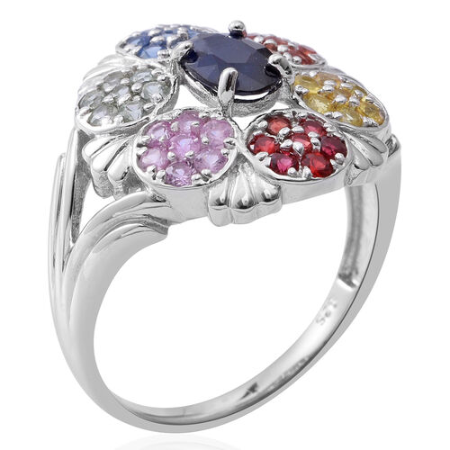 Limited Edition- Designer Inspired- Kanchanaburi Blue Sapphire (Ovl) Rainbow Sapphire Ring in Rhodium Plated Sterling Silver 2.210 Ct.