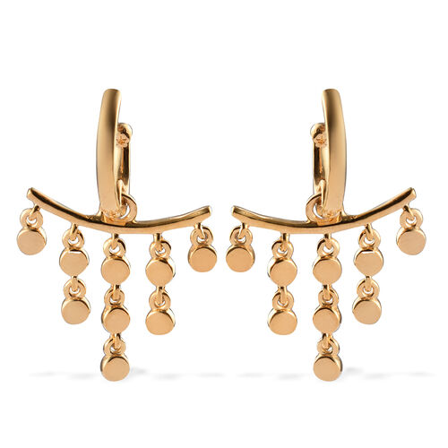 Sundays Child - 14K Gold Overlay Sterling Silver Dangle Earrings (with Push Back), Silver wt. 8.00 G