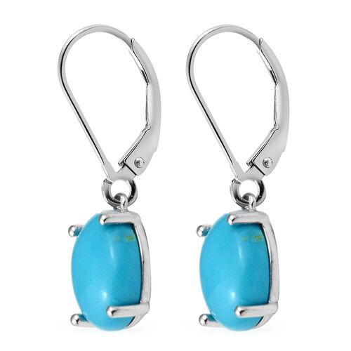ILIANA 18K White Gold AAA Arizona Sleeping Beauty Turquoise (Ovl) Lever Back Earrings 4.41 Ct.