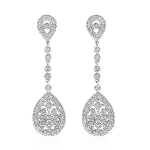 Diamond (Rnd) Dangle Earrings (with Push Back) in Platinum Overlay Sterling Silver 1.000 Ct, Number of Diamond 142