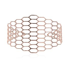 Italian Made - Rose Gold Overlay Sterling Silver Honeycomb Bangle (Size 7.5), Silver wt 16.13 Gms