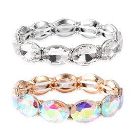 Set of 2 - Simulated Diamond (Ovl) Simulated Mercury Mystic Topaz Bracelet (Size 6.25 Stretchable) i