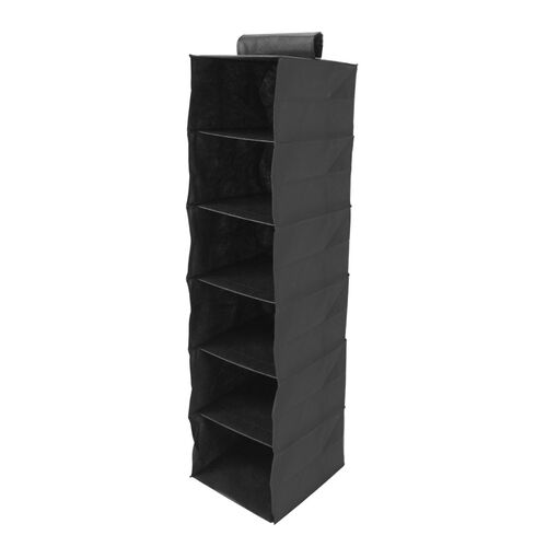Six Shelf Wardrobe Organiser - Black, Size: (120 x 30 x 30cm)