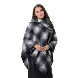 High Neck Plaid Pattern Poncho with Brooch (Size 100x90 Cm) Black and White Colour