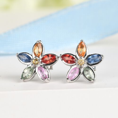 Rainbow Sapphire and Yellow Sapphire Floral Stud Earrings (with Push Back) in Platinum Overlay Sterling Silver 1.16 Ct.