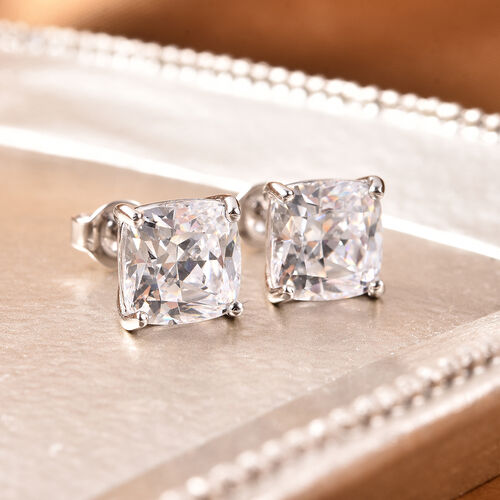 J Francis Rhodium Overlay Sterling Silver Stud Earrings (with Push Back) Made with SWAROVSKI ZIRCONIA 9.00 Ct.