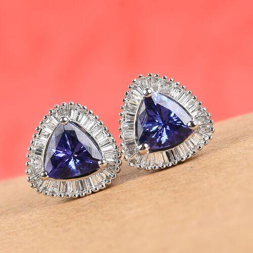 RHAPSODY 950 Platinum AAAA Tanzanite and Diamond Stud Earrings (with Screw Back) 2.00 Ct.