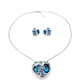 2 Piece Set -  Simulated Blue Sapphire and Blue Austrian Crystal Necklace (Size 20 with 1 inch Exten