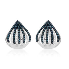 Blue Diamond (Rnd) Earrings (with Clasp Lock) in Platinum Overlay Sterling Silver 0.500 Ct. Number of Diamonds 118