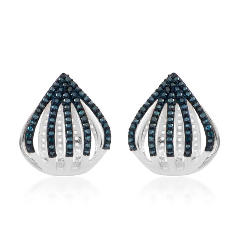 Blue Diamond (Rnd) Earrings (with Clasp Lock) in Platinum Overlay Sterling Silver 0.500 Ct. Number o