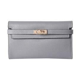 Super Soft  Genuine Leather RFID Clutch Wallet (Size 19x2x10cm) - Grey