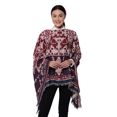 Bohemian Style  Poncho with Jacquard Pattern in Burgundy (140x65cm)