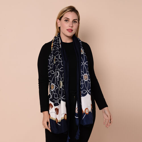 Close Out Fashion Scarf  / Sarong in Patterns (Size 180x90cm) with Tassels - Navy and Off-White