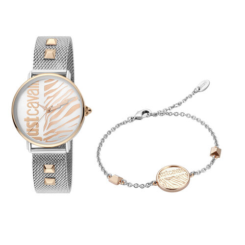 Just Cavalli Animalier Japanese Movement Ladies Watch with Bracelet (Size 7 with 1 inch Extender) in