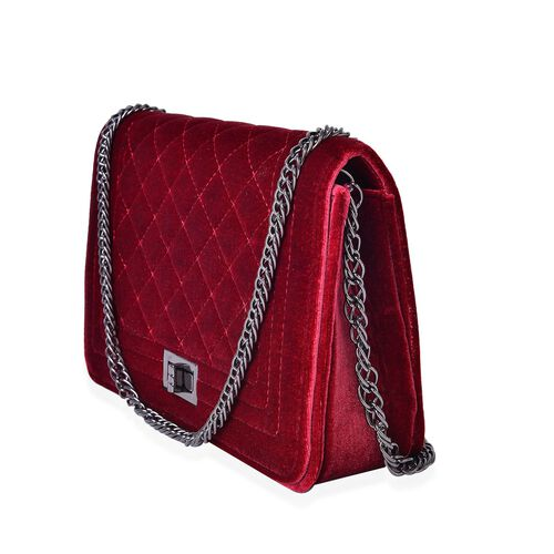 Designer Inspired - Winter Berry Colour Diamond Pattern Velvet Crossbody Bag with Chain Strap (Size 23.5X15X7 Cm)