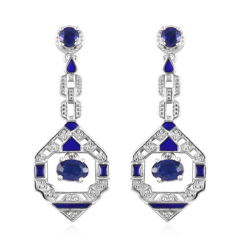 Masoala Sapphire Enamelled Earrings (with Push Back) in Platinum Overlay Sterling Silver 2.58 Ct, Si