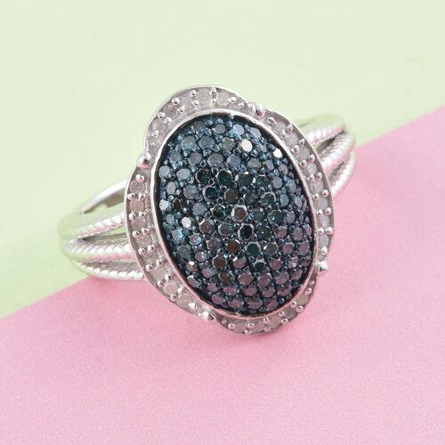 Blue Diamond (Rnd), White Diamond Ring in Platinum Overlay Sterling Silver 1.000 Ct.