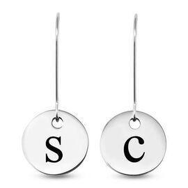 Personalised Engravable Disc Drop Earrings in Silver Tone
