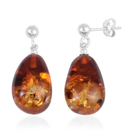 Baltic Amber Earrings (with Push Back) in Rhodium Overlay Sterling Silver