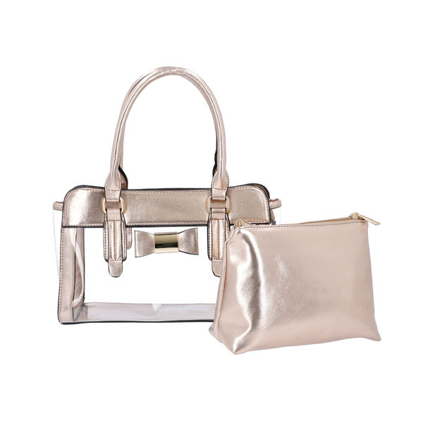 2 Piece Set - Metallic Rose Gold Colour Bowknot Satchel Bag (Size 28x12x16cm) with Zipper Closure an
