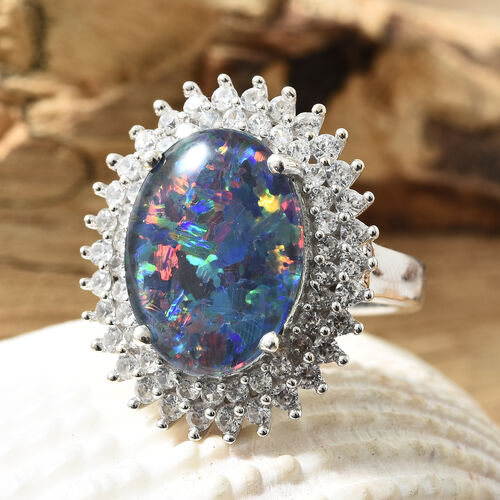 Limited Edition- Rare Size Australian Boulder Opal (Ovl 16x12 mm), Natural Cambodian Zircon Ring in Platinum Overlay Sterling Silver, Silver wt 5.6 Gms.
