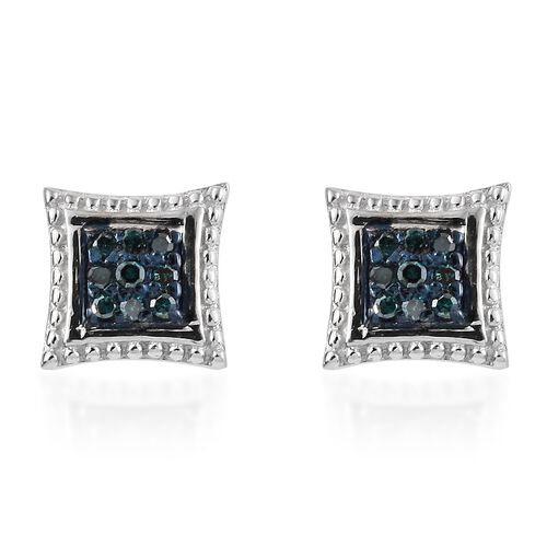 Blue Diamond (Rnd) Stud Earrings (with Push Back) in Platinum Overlay Sterling Silver 0.100 Ct.