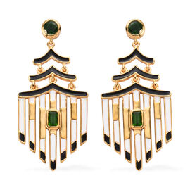Russian Diopside Enamelled Earrings (with Push Back) 14K Gold Overlay Sterling Silver 1.50 Ct, Silve