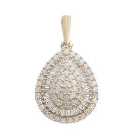 9K Yellow Gold SGL Certified Diamond (Rnd) (I3/G-H) Cluster Pendant 1.000 Ct.