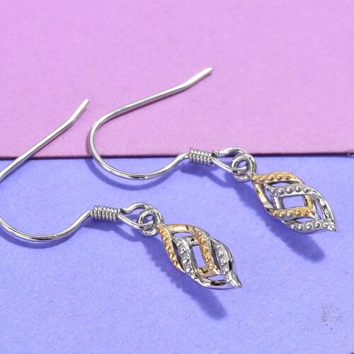 Platinum and Yellow Gold Overlay Sterling Silver Dangle Earrings