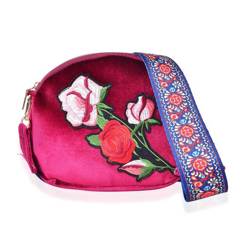 Red, Green and Multi Colour Rose Embroidered Velvet Crossbody Bag with Colourful and Removable Shoulder Strap (Size 20X17X3.5 Cm)