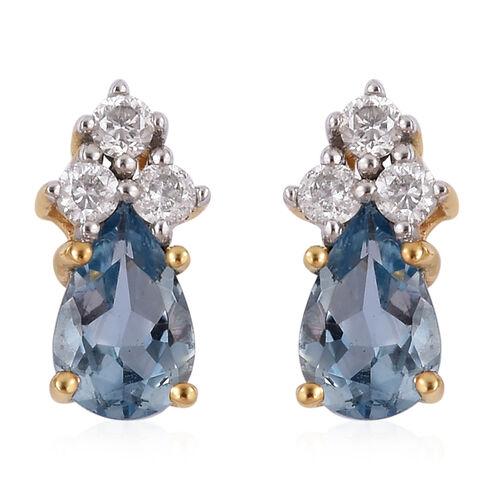 0.90 Ct AA Santa Maria Aquamarine and Diamond Stud Earrings in 9K Gold (with Push Back)