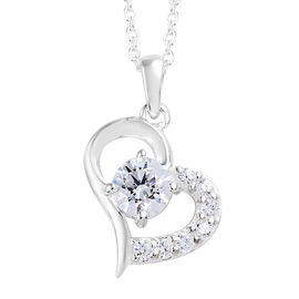 Sterling Silver (Rnd) Heart Pendant with Chain (Size 18) Made with SWAROVSKI ZIRCONIA