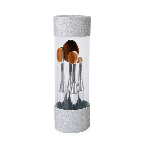 Set of 4 - Oval Shape Makeup Brushes in Silver Tone in a Box