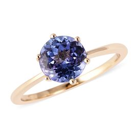 1.65 Ct AA Tanzanite Solitaire Ring in Gold 2.06 Grams